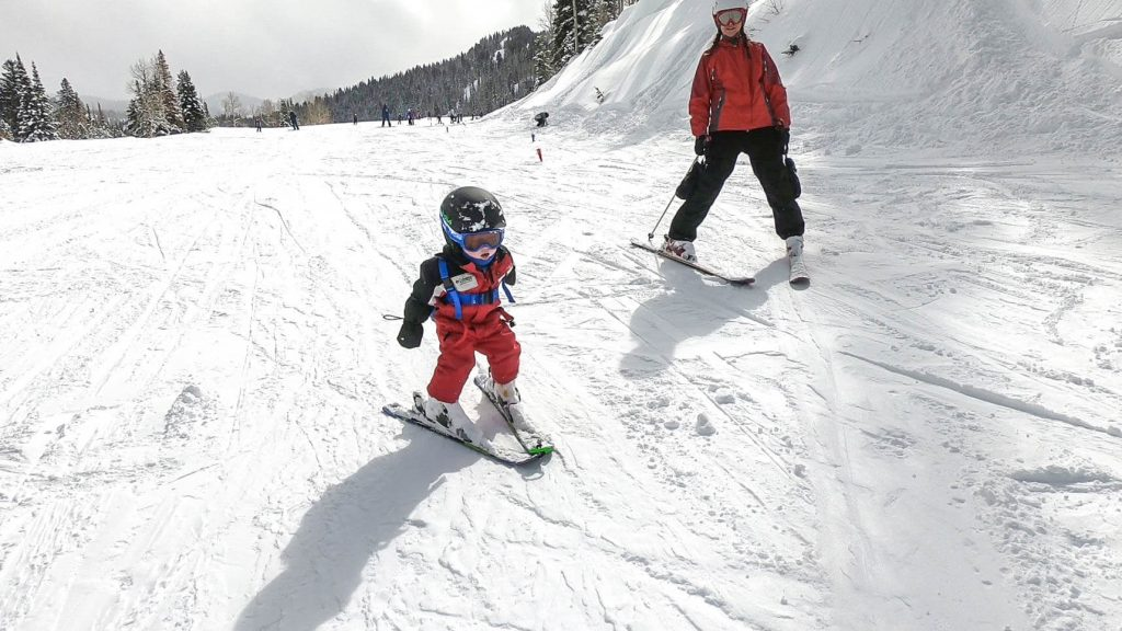 toddler downhill skiing