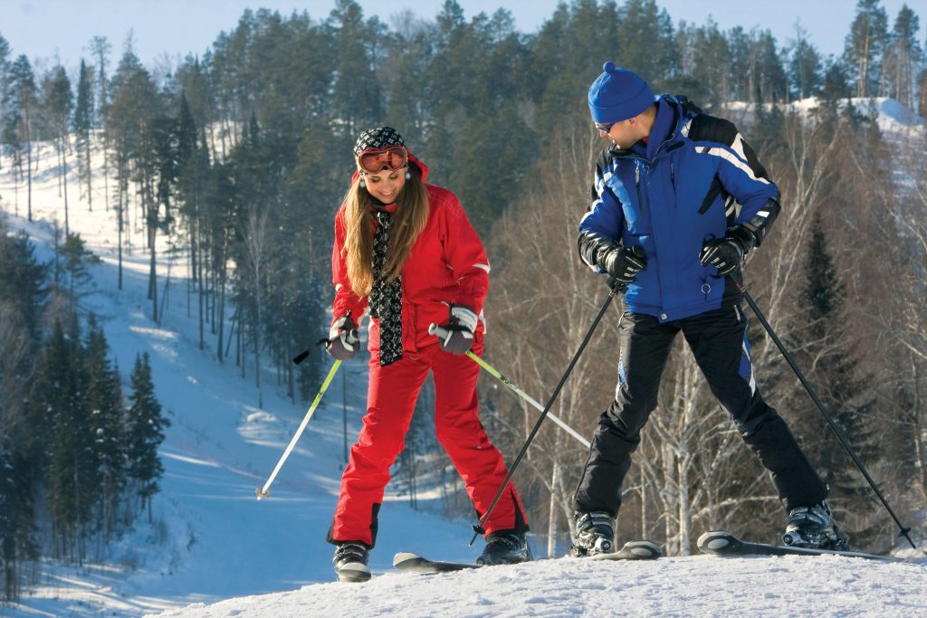 boys skiing together