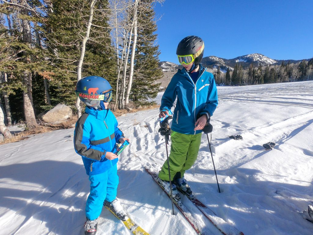 brothers skiing together