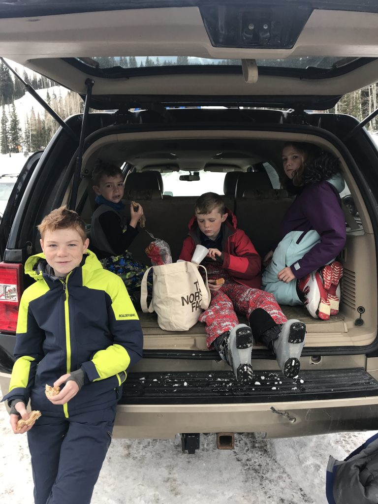 kids ski lunch tailgating