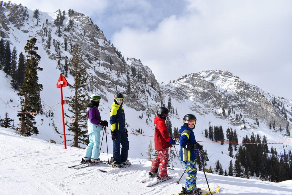 kids skiing in winter