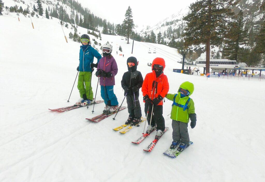 kids skiing at squaw
