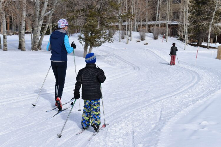 groomed cross country skiing with kids