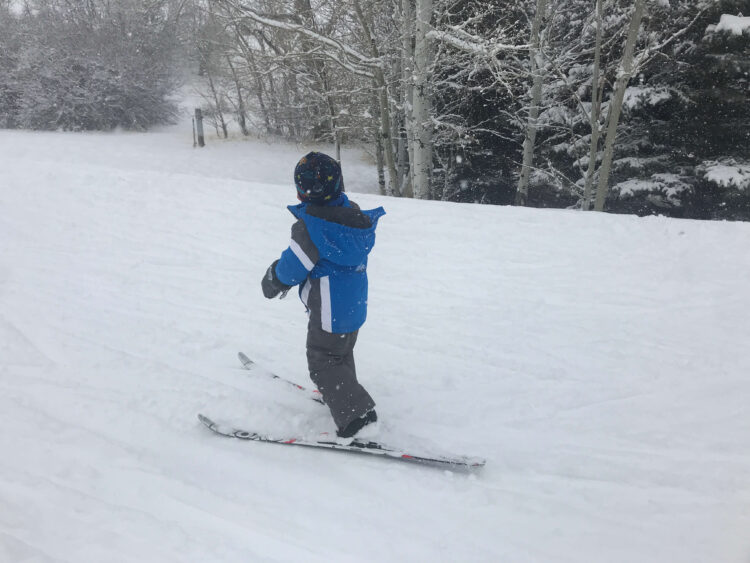 cross country skiing with toddler