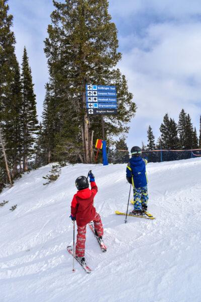 kids skiing harder terrain