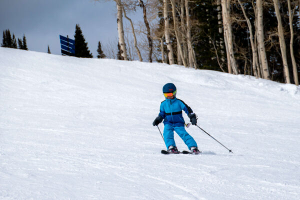 skiing blue runs with kids