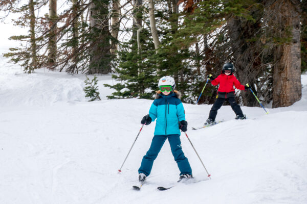 downhill skiing with kids